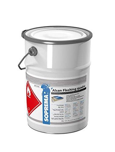 ALSAN Flashing Quadro - 5,0 kg/Gebinde - RAL7012 basaltgrau - einkomponentiger Polyurethan Flüssigkunststoff zur absolut sicheren Abdichtung und Herstellung von Details und Anschlüssen im Flachdach