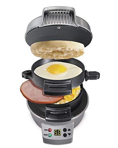 Sandwicheras de Desayuno con Temporizador, Pan Antiadherente para Huevos, frittatas, paninis, Pizza Bolsillos y Otras Opciones de Desayuno, Almuerzo y Cena-Plata