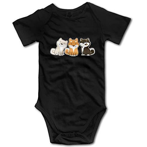 Jingliwang Ropa de mameluco de monos de bebé Three Colors Kawaii Shiba Inu Newborn Baby Funny Short Sleeve Cotton Bodysuits Outfits