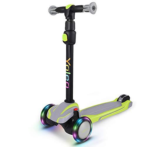 YOLEO Kinderscooter, Kinder Roller mit LED Leuchtenden Räder, Dreiradscooter 4 Höhenverstellbare für Jungen & Mädchen im Alter von 3-12 Jahren, bis 75kg belastbar, grün