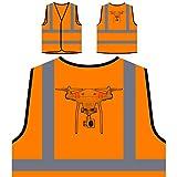 Piloto De Cámara Drone Chaqueta de Seguridad Naranja Personalizado de Alta Visibilidad r632vo