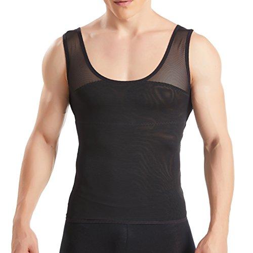 HANERDUN Kompressionsunterwäsche Tank Top Herren | Bauchweg Body Shaper Figurformendes Unterhemd für Männer | Sport Fitness Bodyshaper Schwarz XL