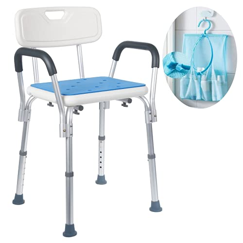 Medokare Shower Chair for Elderly - Easily Adjustable Chairs for Inside Bathtub or Shower with Arms & Back for Adults and Seniors with Handicap - White