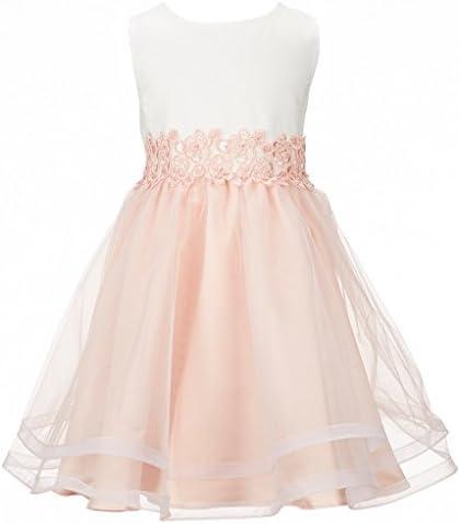 Mrprettys Blush Pink Organza Ivory Satin Flower Girls Dress Little Girls Toddler Party Dresses product image