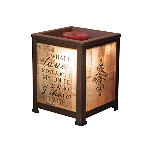 Elanze Designs Love Most About House Share It Copper Tone Metal Electrical Wax Tart & Oil Glass Lantern Warmer