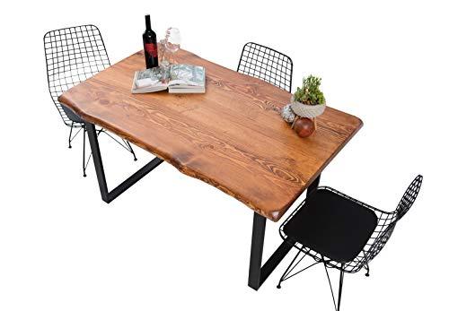 Gozos Scots Pine Design Esstisch 160 x 80 Massivholz – massiver Echtholztisch aus Kiefer mit schwarzen U-Metallbeinen, Echtholz Küchentisch, Esszimmertisch mit massiver Tischplatte