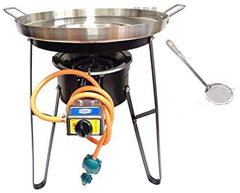 """Comal Concave Stainless Steel 22"""" Set w/Propane Burner & Heavy Duty Stand M. D. S. Cuisine Cookwares"""