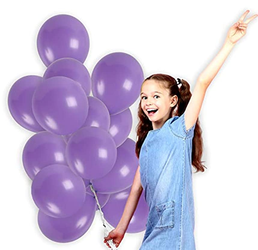 Light Purple Solid Lavender Balloons 12 Inch Pastel Lilac Thick Latex Balloon Bulk Pack of 36 and 22 Yards Curling Ribbons Party Supplies for Wedding Bridal Baby Shower Birthday Decorations