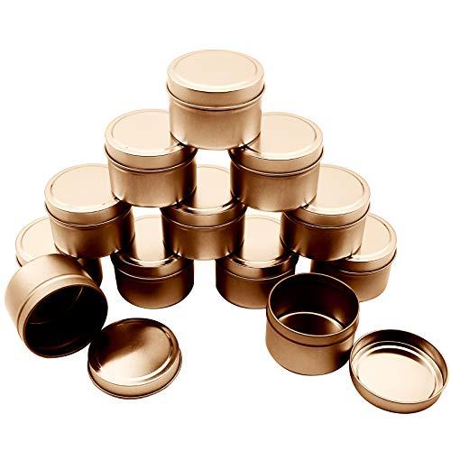 Souarts Kerzendose 16 Stück Wiederverwendbare runde Form, Aufbewahrungsbox für Kunstmetallkerzen, DIY-Kerzen, Süßigkeiten, Partys, Gewürze und Campingbedarf(Roségold)