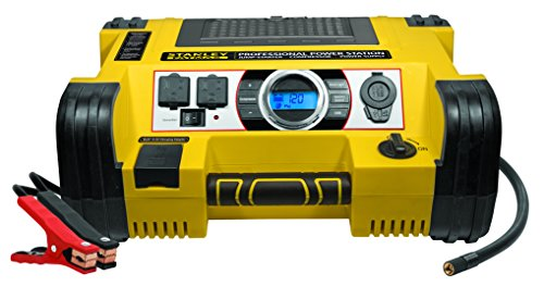 STANLEY FATMAX PPRH7DS Professional Power Station Jump Starter: 1400 Peak/700 Instant Amps, 500W Inverter, 120 PSI Air Compressor, USB Port, Battery Clamps