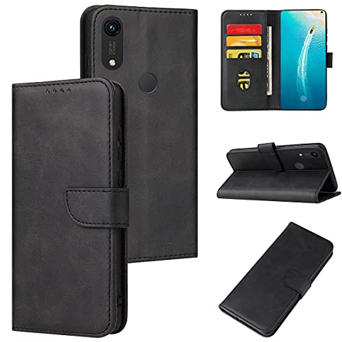 ANCASE Funda de Cuero Compatible con Huawei P30 Lite Negro con Tapa Libro PU Case Cover Completa Protectora Funda para Teléfono Piel Tarjetero Modelo