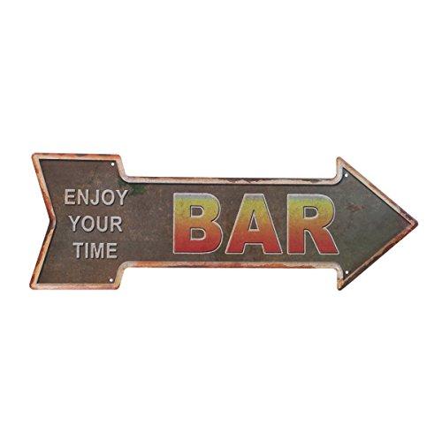 Vosarea Schild Willkommen Vintage Metall Pfeil Retro Rustikale Dekoration Legende für Haus Bar Café Pub