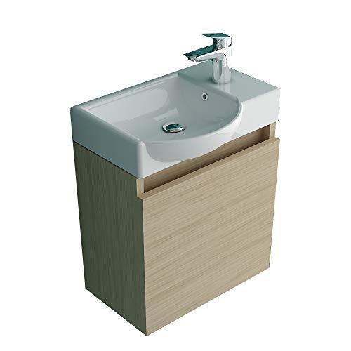 Alpenberger Badmöbel-Set bestehend aus Waschbecken mit Unterschrank Farbe Eiche I Stillvolles Design Keramik Becken Vormontierter Schrank Badezimmer