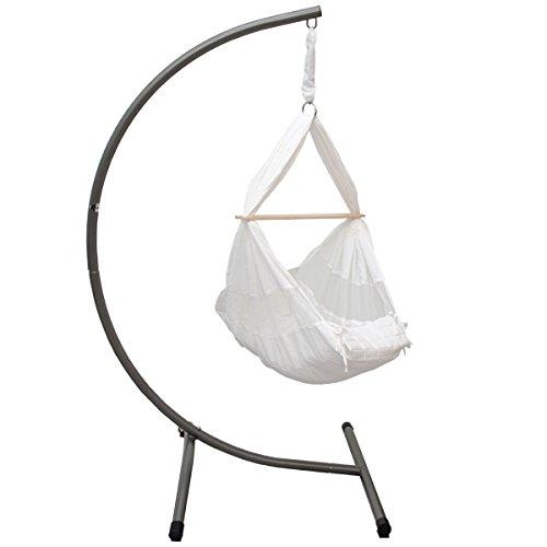 EYEPOWER 12806 Kinderhängemattengestell Weiß Belastbarkeit: max. 15kg Maße Gestell: ca. 100x80x170cm, Hängematte + Kissen aus hautfreundlichem Baumwollstoff, sanfter Schaukelspaß