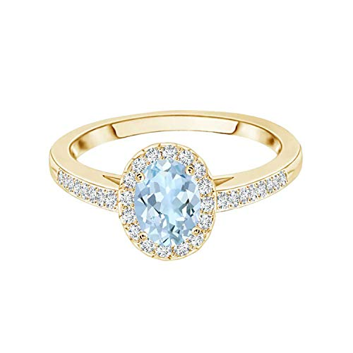 0.25 Cts Oval Shape Blue Aquamarine Gemstone Stackable Halo 9K Gold Accents Ring (Yellow Gold, W)