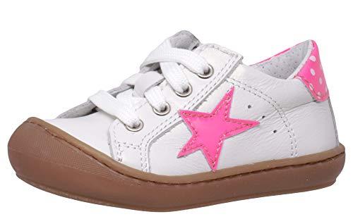 Dianetti Lauflernschuhe 9841 Italien Leder Weiß Stern Pink, Schuhgröße:EUR 23