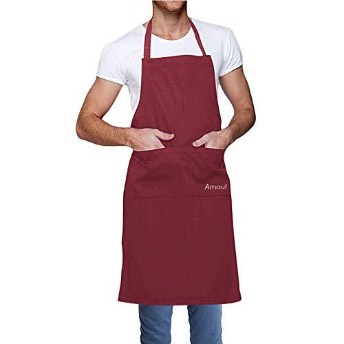 Amoui Schort voor Vrouwen Mannen Kids Waterdichte Grote chef-kok serveerster kookt schorten voor Keuken Restaurant Tuinieren BBQ Rood