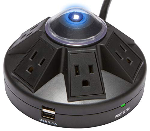 Accell powramid usb surge protector - 2 usb charging ports (2. 1a), 6 outlets, 6-foot cord, 1080 joules, ul listed - black grounded extension cord power strip (d080b-015k)
