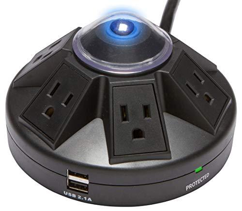 Accell Powramid USB Surge Protector - 2 USB Charging Ports (2.1A), 6...