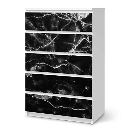 creatisto Möbelfolie passend für IKEA Malm Kommode 6 Schubladen (hoch) I Möbeldeko - Möbel-Folie Tattoo Sticker I Wohn Deko Ideen für Wohnzimmer, Schlafzimmer - Design: Marmor schwarz