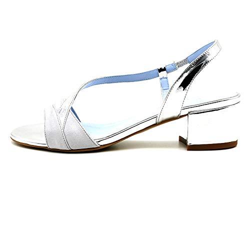 CIVI. Sandalia Tiras Cruzadas Destalonada. Zapato de Novia tacón Ancho bajo Plata,...