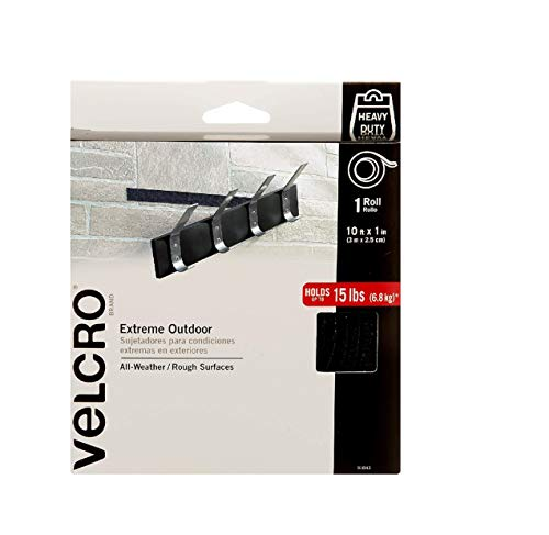 VELCRO Brand Extreme Outdoor Heavy Duty Tape   10Ft x 1 In   Holds 15 lbs   Black with Stick on Adhesive   Strong Weather Resistant Holding Power