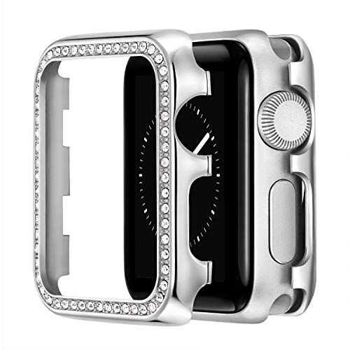 VeveXiao Funda de 44 mm compatible con Apple Watch SE Case de 44 mm, para mujer y niña, con bisel de metal inoxidable, para iWatch Series 6/5/4 (plata, 44 mm)