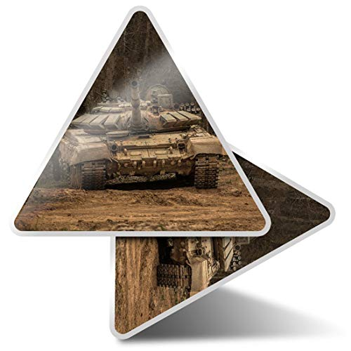 2 x Triangle Stickers 10cm - Army Tank Vehicle War Battle Forces Fun Decals for Laptops,Tablets,Luggage,Scrap Booking,Fridges,Cool Gift #44149