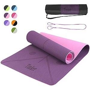 Timker Esterilla Yoga Colchoneta de Yoga Antideslizante Material ecológico TPE líneas corporales Yoga Mat diseñado con Correa de Hombro- 183cm x 61cm
