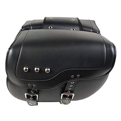 1 par alforjas laterales para motocicleta, organizador almacenamiento equipo, Bolsas cuero y alforjas, cuero PU, impermeable, sillín para asiento trasero, herramienta de viaje, equipaje trasero