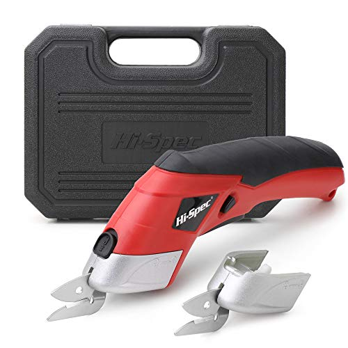 Hi-Spec 3 Piece 3.6V Cordless Electric Power Scissors. Rapid Fabric & Paper Rechargeable Cutters including Carpet, Cardboard & PVC. Complete with 2 Cutting Heads & Handy Carry Case