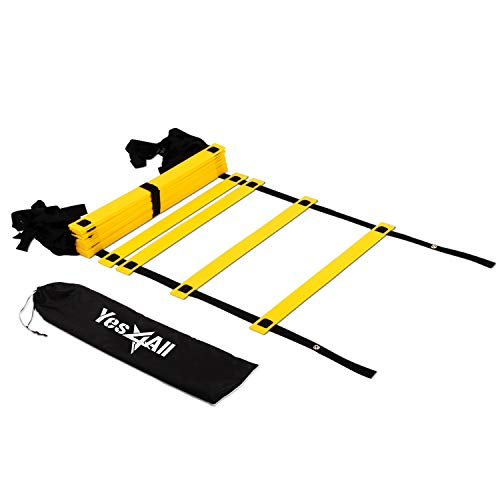 Yes4All Agility Ladder – Speed Agility Training Ladder with Carry Bag – 20 Rung (Yellow)
