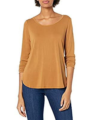 Betsey Johnson Women's Cupro Strappy Back Long Sleeve Tee, Spice, Large