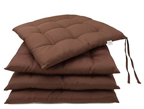 ZOLLNER 4 Cuscini da Sedia per Dentro e Fuori, 40x40 cm, Marrone, Altri Colori
