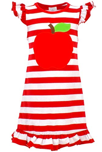 Unique Baby Girls Back to School Apple Shirt Dress (4T/M, Red)