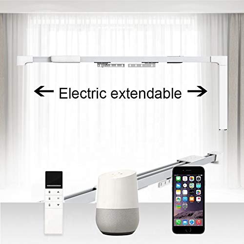 New EXTENDABLE WiFi Smart Motorized Curtain Motor Track, Remote Controlled Drapery System, Length can be Customized up to 157in, Compatible with Amazon Alexa, Google Home, Tuya APP (67in to 118in)