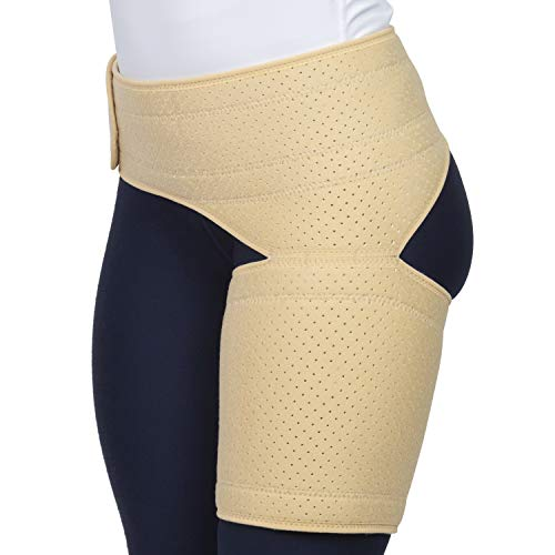 Vive Groin and Hip Support - Sciatica Wrap for Men and Women - Compression for Nerve Pain Relief - Thigh, Hamstring Recovery for Joints, Flexor Strains (Beige, Waist: 25'-48')