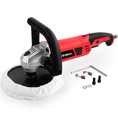 """Hi-Spec 1200W Rotating 7"""" Buffer Kit – Variable Speed Switch, Constant Speed Switch & Soft Wool Buffing Pad - Buff, Polish, Fix Paint Imperfections & Detail Car Auto Paint, Countertops"""