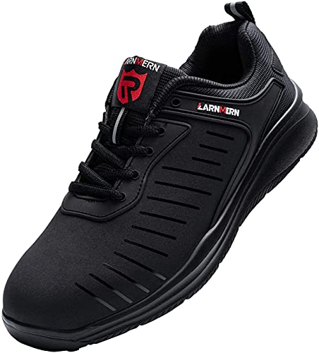 [MODYF] 安全靴 メンズ レディース 軽量 防水 作業靴 セーフティーシューズ スニーカー鋼先芯 ケブラー つま先保護 工事現場 通気性 防刺 通勤(ブラック, 23.5 cm)
