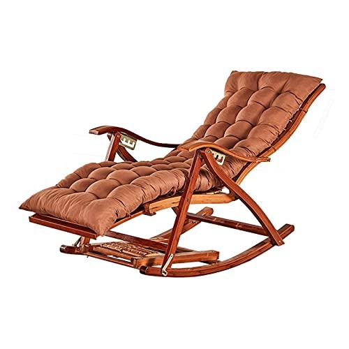 ZYYH Mecedora reclinable Plegable de bambú para Exteriores, Silla Ajustable para Personas Mayores en el hogar, Tumbona portátil para terraza con jardín, con Pedales alargados, Carga 200 kg (Color