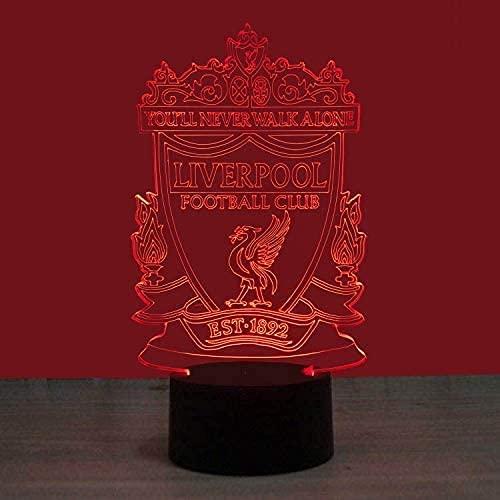 Lámpara de ilusión 3D Luz de noche LED Pantalla táctil de 7 colores Patrón de Liverpool Lámparas de mesa intermitentes Placa de acrílico y base de ABS Habitación para niños Regalos de cumpleaños