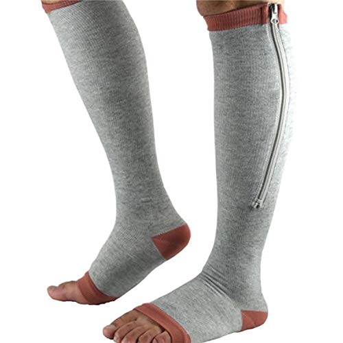 3 Pares de Calcetines de Rodilla Unisex Calcetines de Compresión Para Mujer, Puntera Abierta, Antifatiga, Calcetines Elásticos, Calcetines Grises, Altura 33 Cm