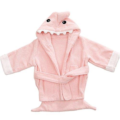 Lexikind Kapuzenhandtuch Baby: Frottee Bademantel - Babyhandtuch mit Kapuze - Kapuzenbadetuch (Hai rosa)