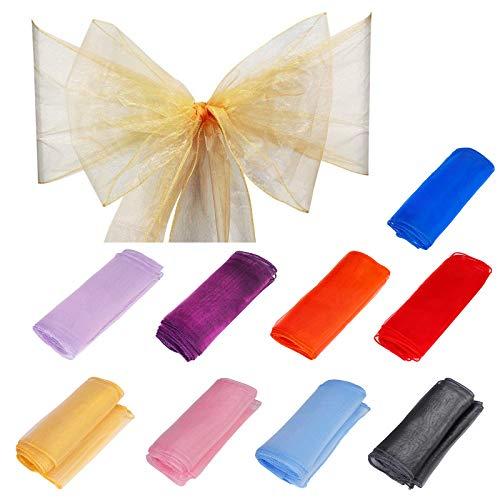 QIMEI-SHOP Organza Cinta Cubierta 15 Piezas Arco de Silla de Organza para Lazo Silla Boda Decoración Navidad Fiesta Banquete 275 x 18 cm