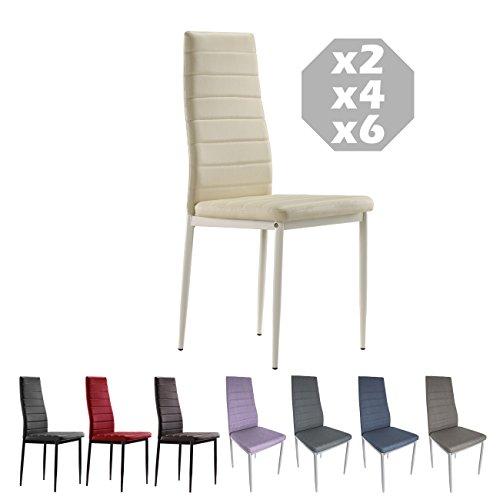 MOG CASA - Conjunto de 2, 4 o 6 sillas de Comedor con Patas metálicas y tapizadas de Piel sintética alcochado - Dimensiones 42x42x98cm (Crema, 6)