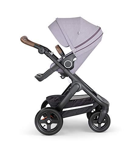 STOKKE® Trailz™ - Carrito de bebé todoterreno multifunción│Silla de paseo con ruedas grandes y cesta resistente al agua│Color de Manillar: Brown│color : Brushed Lilac
