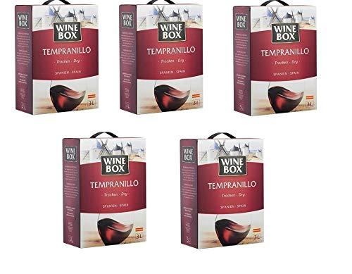 5 Boxen a 3000ml WineBox Tempranillo Rotwein Vino de la Tierra de Castilla trocken (15 Liter)
