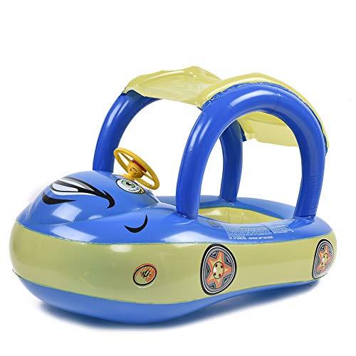 Earlyad Baby Schwimmbad Float Sitz Boot Aufblasbare Schwimmringe Auto Form Pool Spielzeug mit Sonnenschirm und Luftpumpe Safty für 0-3 Jahre
