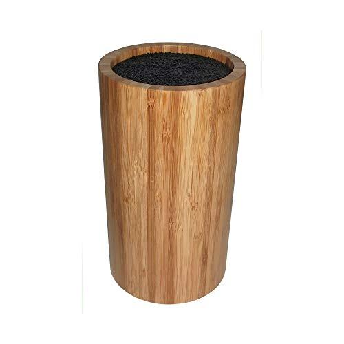Point-Virgule bloc à couteaux en bambou rond sans couteaux, accessoire cuisine, ø 12 cm H 22 cm