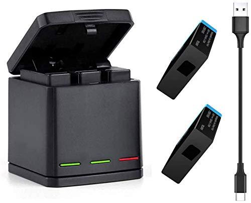 TELESIN Cargador Triple y Batería Kit Caja de Carga/Almacenamiento con 2 Baterías y USB Type-C Cable para GoPro Hero 2018, Hero 5 6 7 Black Action Cámara Accesorios